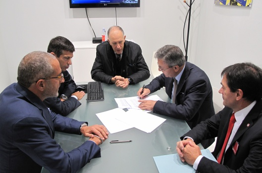 Andrea Certo (CEO of MERMEC), Maurizio Lupi (Minister for Infrastructure and Transport), Vito Pertosa (MERMEC Group President), Matteo Maria Triglia (CEO of Italferr), Franco Carpanese (Sales Director MERMEC)